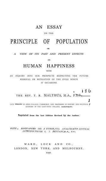 Thomas Robert Malthus   Wikipedia  the free encyclopedia Malthus  An Essay  on the Principle of Population