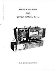 SERVICE MANUAL FOR SINGER MODEL 471 - Singer Sewing ...