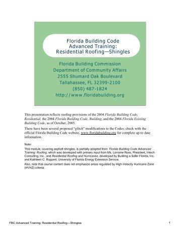 Residential Roofing—Shingles - Florida Building Code Information ...