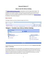 How to Use the Library Catalog - Rutgers School of Law