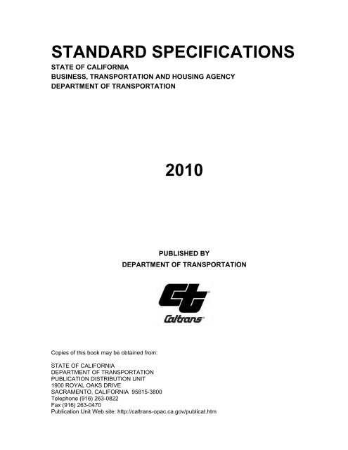 STANDARD SPECIFICATIONS 2010 - Caltrans - State of California