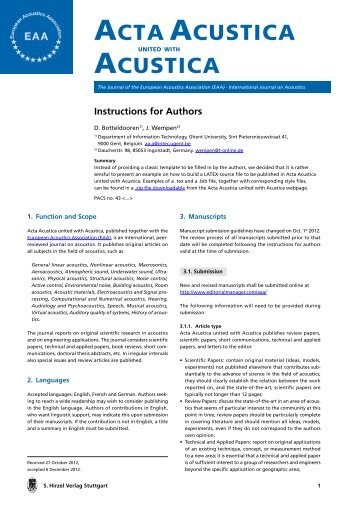 Instructions for Authors.pdf, pages 1-3 - Acta Acustica united with ...