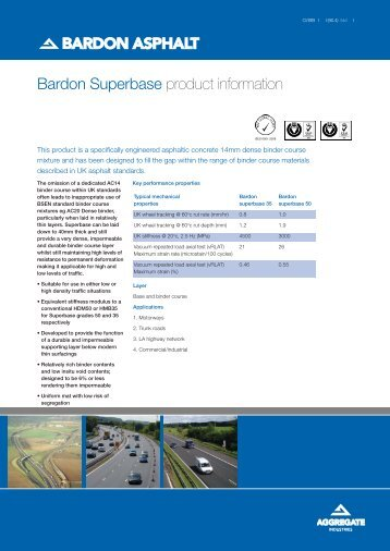 Asphalt base layer product supplied for road and pavement surfacing