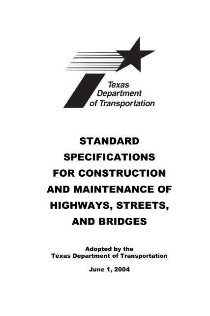 Standard Specifications For Construction And Maintenance Of