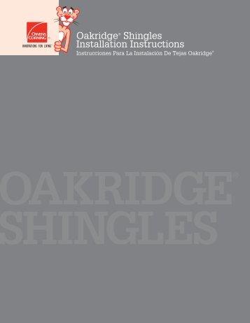 Oakridge® Shingles Installation Instructions