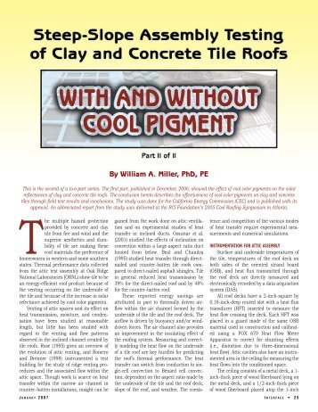 Steep-Slope Assembly Testing Of Clay And Concrete Tile ... - RCI, Inc.