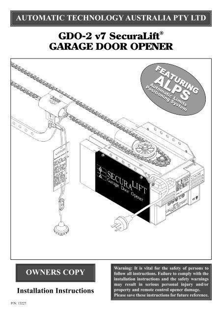 Gdo 2 V7 Securalift Garage Door Opener Duro Pressings