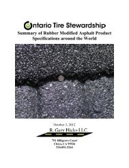 Summary of Rubber Modified Asphalt Product Specifications around ...