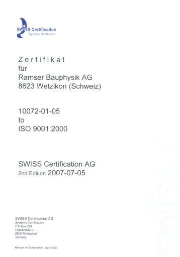 Z e rt i f i k a t - Ramser Bauphysik AG