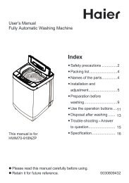 User's Manual Fully Automatic Washing Machine - Haier