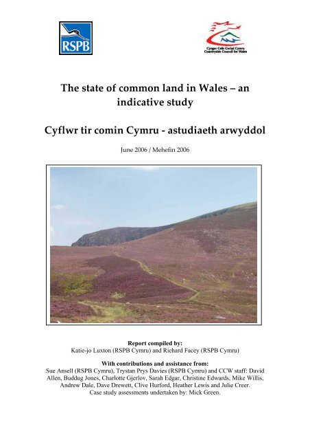 The state of common land in Wales – an indicative study ... - RSPB