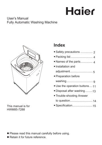 user s manual fully automatic washing machine haier rh yumpu com haier hpb08xcm user manual haier user manual pdf
