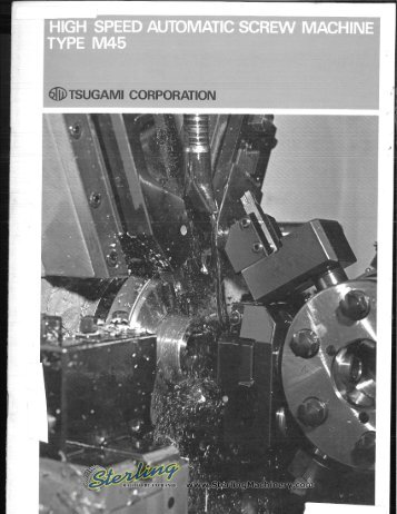 Tsugami Automatic Screw Machine M45 Brochure - Sterling Machinery