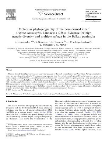 Molecular phylogeography of the nose-horned viper (Vipera ...