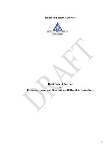 Draft National Code of Practice for the Prevention of