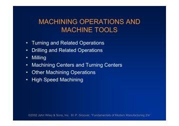 MACHINING OPERATIONS AND MACHINE TOOLS