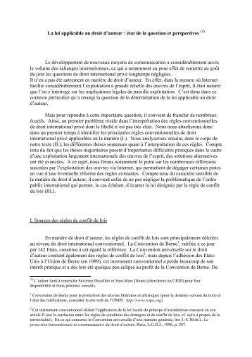 La loi applicable au droit d'auteur : état de la question et ... - crids