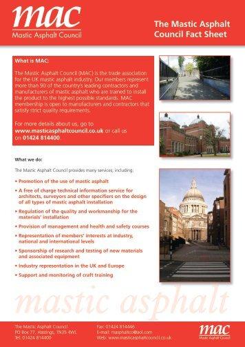 The Mastic Asphalt Council Fact Sheet - Ecobuild