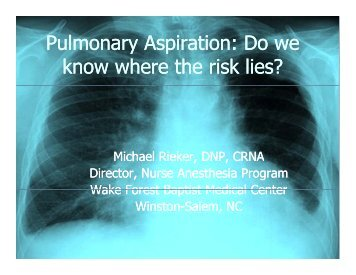 Pulmonary Aspiration: Do we y p know where the risk lies?