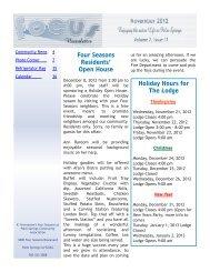 Four Seasons Residents' Open House - Newsletter Website