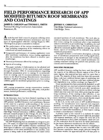 modified bitumen roof membranes and coatings - National Roofing ...