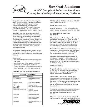One Coat Aluminum - Canadian Data Sheet - Tremco Roofing