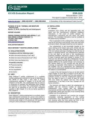 ESR-3229 - Owens Corning Roofing and Asphalt LLC - ICC-ES