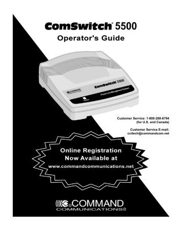 Customer Service: 1-800-288-6794 (for U.S. and Canada) Customer ...