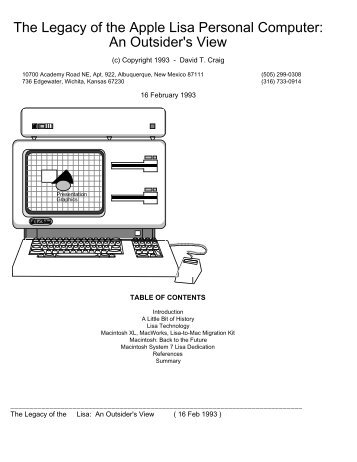 The Legacy of the Apple Lisa Personal Computer - California ...