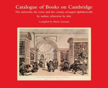 Catalogue of Books on Cambridge - Library - University of Melbourne