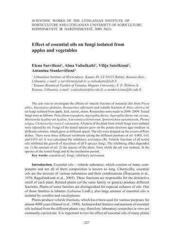 Effect of essential oils on fungi isolated from apples ... - scientific works