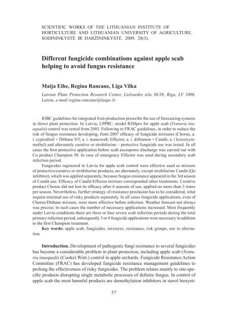 Different fungicide combinations against apple scab - scientific works