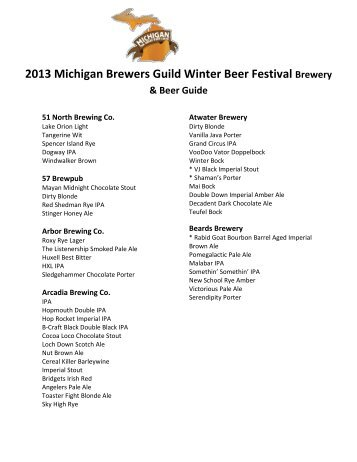 Winter Beer Festival 2013 Beer List - Drink Michigan