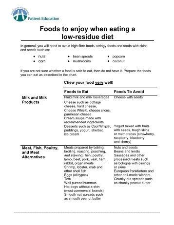 low residue/ low fiber diet, Skeleton