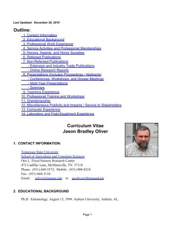 Curriculum Vitae Jason Bradley Oliver Outline: - Tennessee State ...