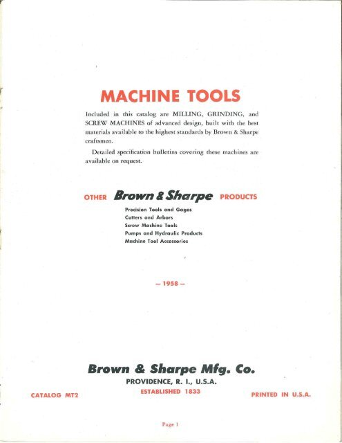 Brown & Sharpe Milliing Grinder & Screw Machine - Sterling ...