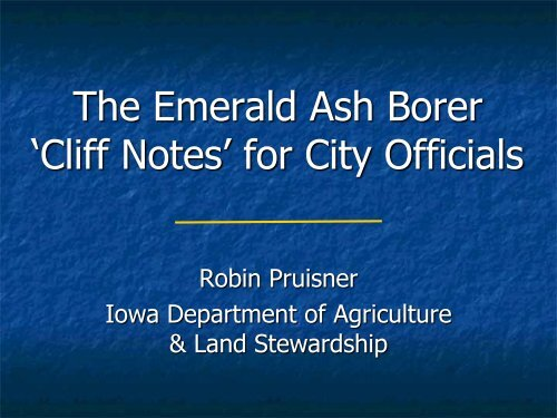 "The Emerald Ash Borer ""Cliff Notes"" for City Officials"