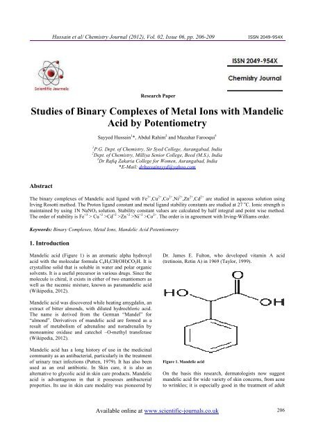 Studies of Binary Complexes of Metal Ions with Mandelic Acid by