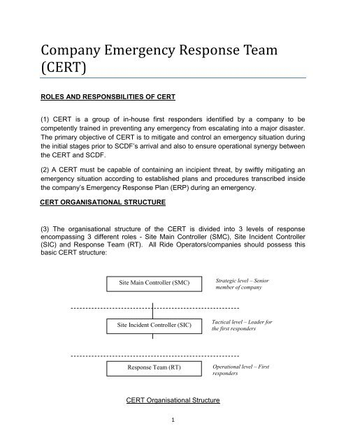 Company Emergency Response Team (CERT)