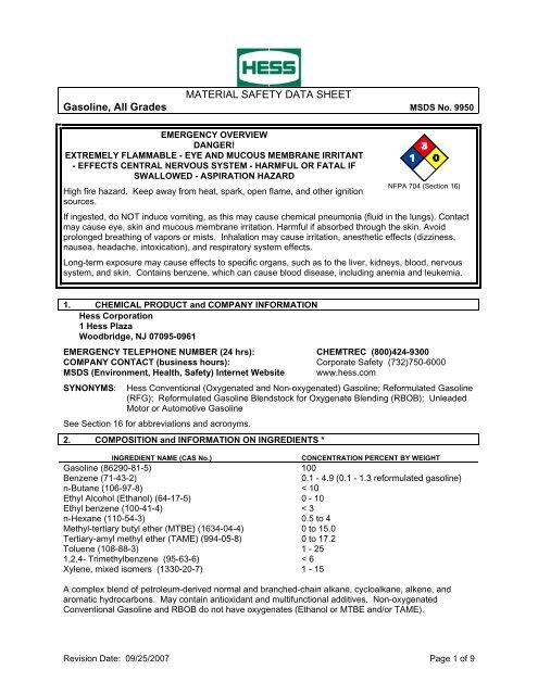 MATERIAL SAFETY DATA SHEET Gasoline, All Grades MSDS - Hess