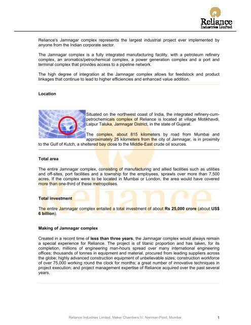 Jamnagar complex - Reliance Industries Limited