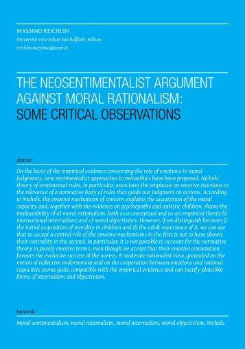 the neosentimentalist argument against moral rationalism