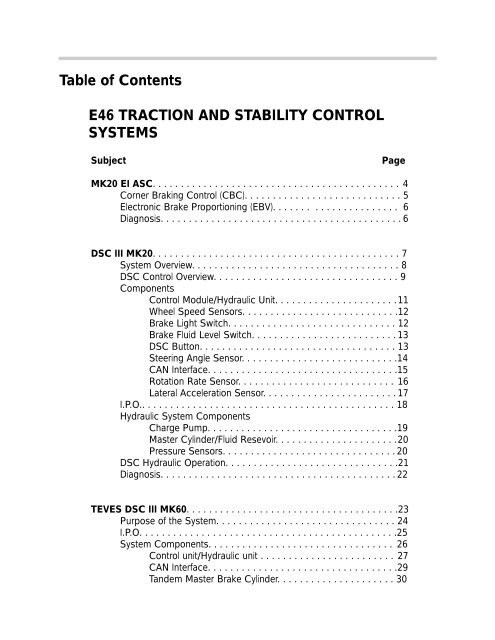 Table of Contents E46 TRACTION AND STABILITY     - bmwtech ru