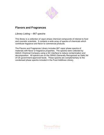 Flavors and Fragrances Library Listing