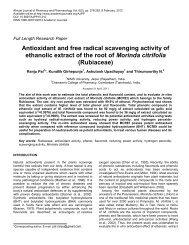 Antioxidant and free radical scavenging activity of ethanolic extract ...