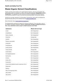 Waste Organic Solvent Classifications - University of Birmingham ...