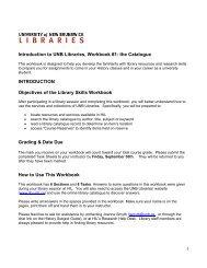 The Catalogue - UNB Libraries - University of New Brunswick