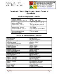 Pyrophoric, Water Reactive and Shock Sensitive Chemicals