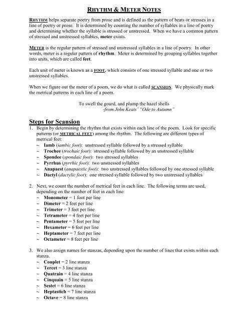 Meter Steps For Scansion Smcc English 9