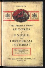 His Master's Voice Records of Unique and Historical - British Library ...